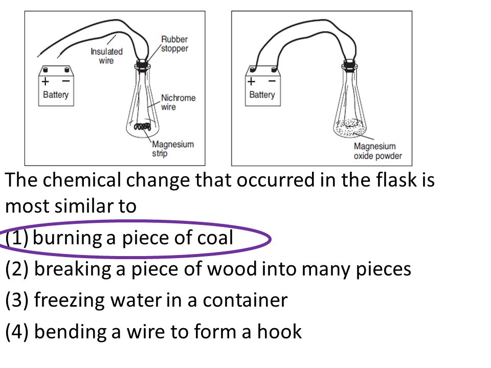 The chemical change that occurred in the flask is most similar to (1)burning a piece of coal (2) breaking a piece of wood into many pieces (3) freezin