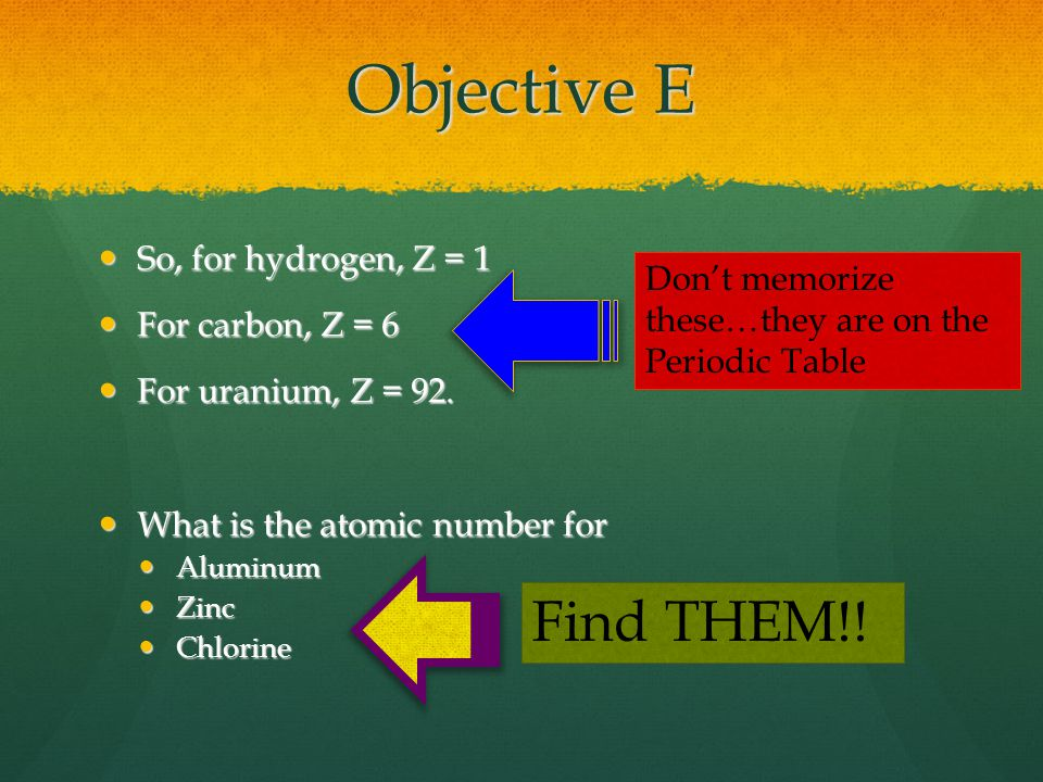 Objective E So, for hydrogen, Z = 1 So, for hydrogen, Z = 1 For carbon, Z = 6 For carbon, Z = 6 For uranium, Z = 92.