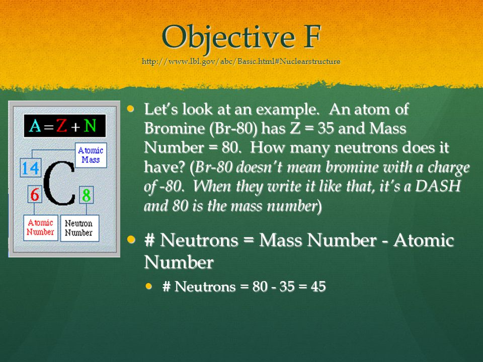 Objective F http://www.lbl.gov/abc/Basic.html#Nuclearstructure Let's look at an example.