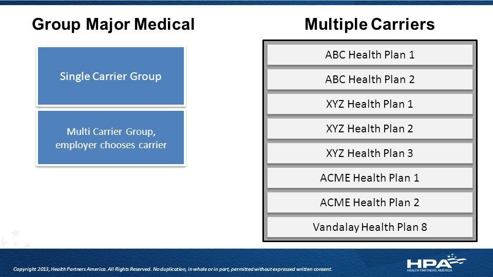 Group Major MedicalMultiple Carriers Single Carrier Group Multi Carrier Group, employer chooses carrier Multi Carrier Group, employer chooses carrier ABC Health Plan 1 ABC Health Plan 2 XYZ Health Plan 1 XYZ Health Plan 2 XYZ Health Plan 3 ACME Health Plan 1 ACME Health Plan 2 Vandalay Health Plan 8 Copyright 2013, Health Partners America.