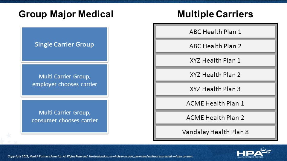 Group Major MedicalMultiple Carriers Single Carrier Group Multi Carrier Group, employer chooses carrier Multi Carrier Group, employer chooses carrier ABC Health Plan 1 ABC Health Plan 2 XYZ Health Plan 1 XYZ Health Plan 2 XYZ Health Plan 3 ACME Health Plan 1 ACME Health Plan 2 Vandalay Health Plan 8 Multi Carrier Group, consumer chooses carrier Multi Carrier Group, consumer chooses carrier Copyright 2013, Health Partners America.