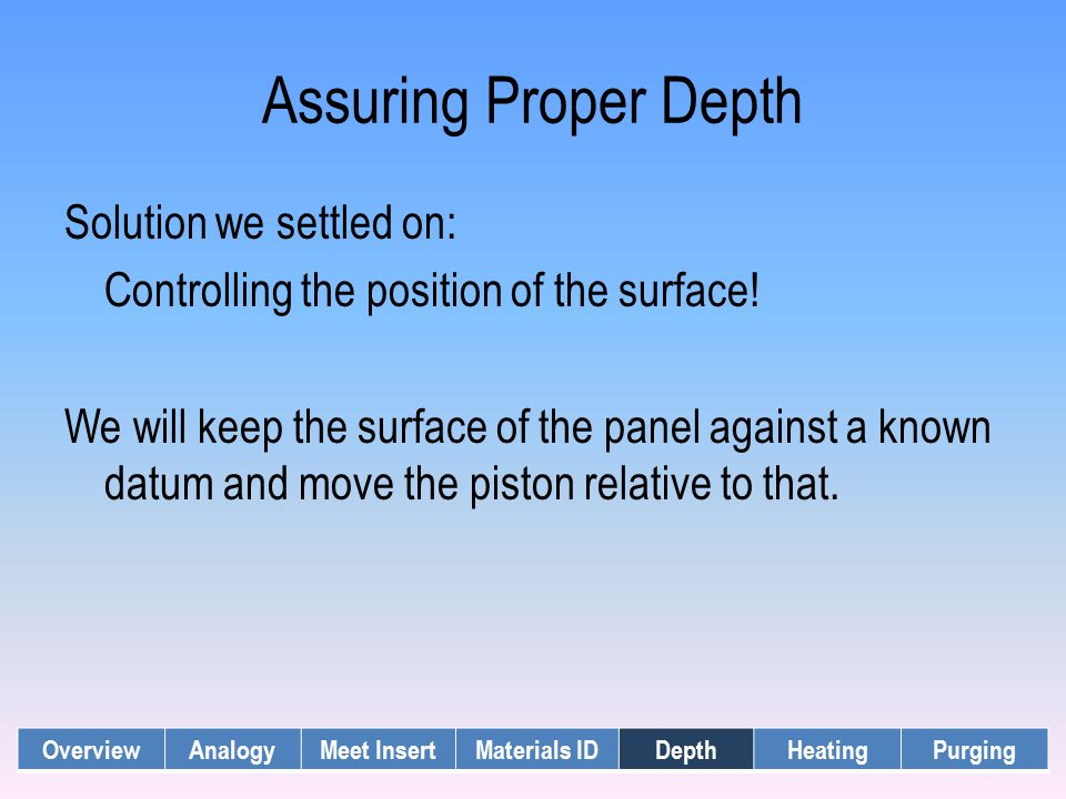 Assuring Proper Depth Solution we settled on: Controlling the position of the surface! We will keep the surface of the panel against a known datum and