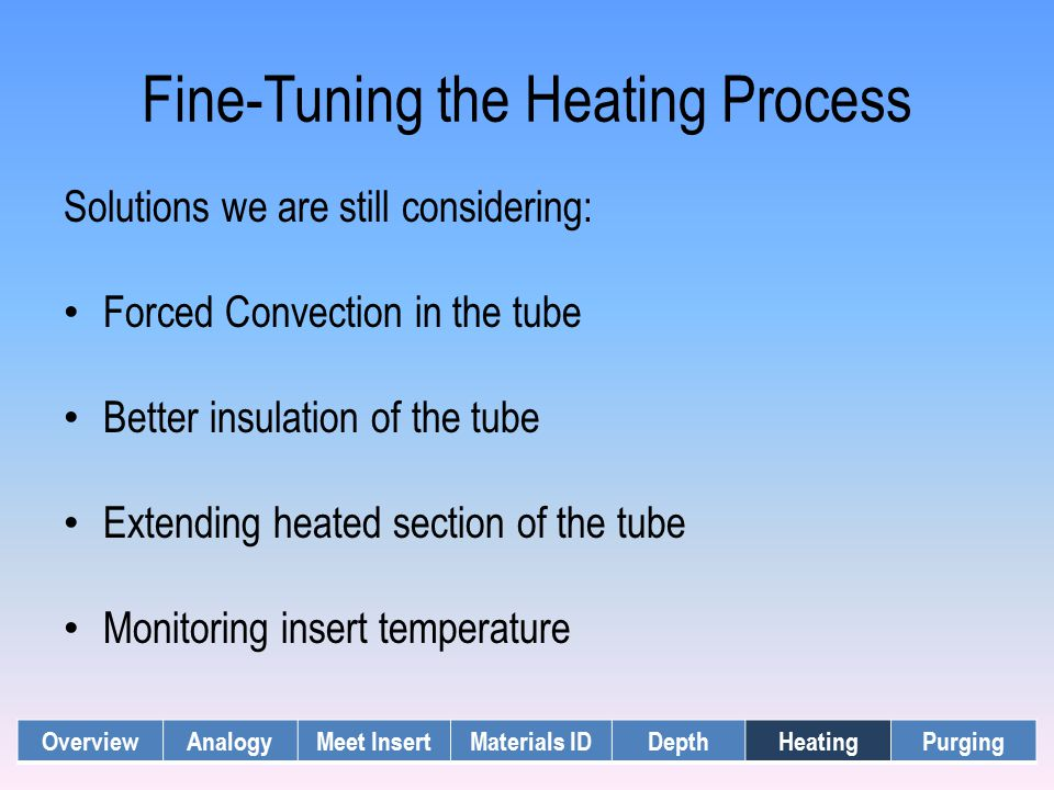 Fine-Tuning the Heating Process OverviewAnalogyMeet InsertMaterials IDDepthHeatingPurging Solutions we are still considering: Forced Convection in the