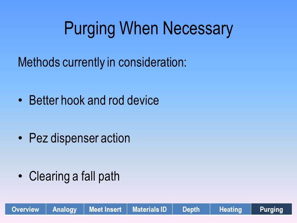 Purging When Necessary Methods currently in consideration: Better hook and rod device Pez dispenser action Clearing a fall path OverviewAnalogyMeet In