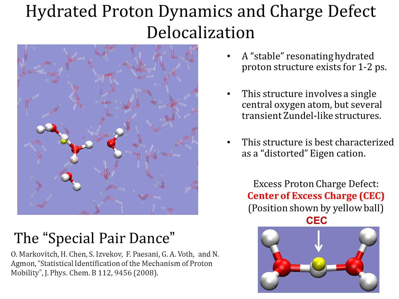 """Hydrated Proton Dynamics and Charge Defect Delocalization A """"stable"""" resonating hydrated proton structure exists for 1-2 ps. This structure involves a"""