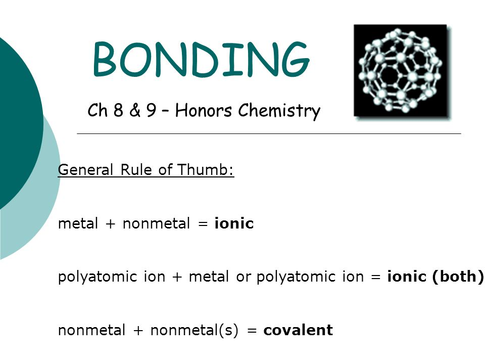 Ionic Bonds  Anions and cations have opposite charges; they attract one another by electrostatic forces (IONIC BONDS)