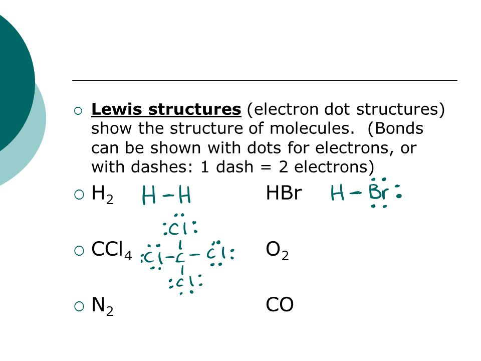  Lewis structures (electron dot structures) show the structure of molecules. (Bonds can be shown with dots for electrons, or with dashes: 1 dash = 2