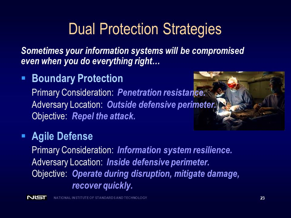NATIONAL INSTITUTE OF STANDARDS AND TECHNOLOGY 23 Dual Protection Strategies Sometimes your information systems will be compromised even when you do everything right…  Boundary Protection Primary Consideration: Penetration resistance.