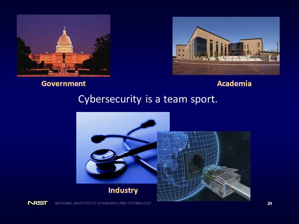 NATIONAL INSTITUTE OF STANDARDS AND TECHNOLOGY 29 Cybersecurity is a team sport.