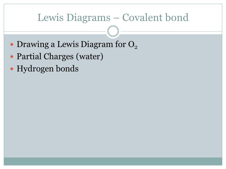 Lewis Diagrams – Covalent bond Drawing a Lewis Diagram for O 2 Partial Charges (water) Hydrogen bonds