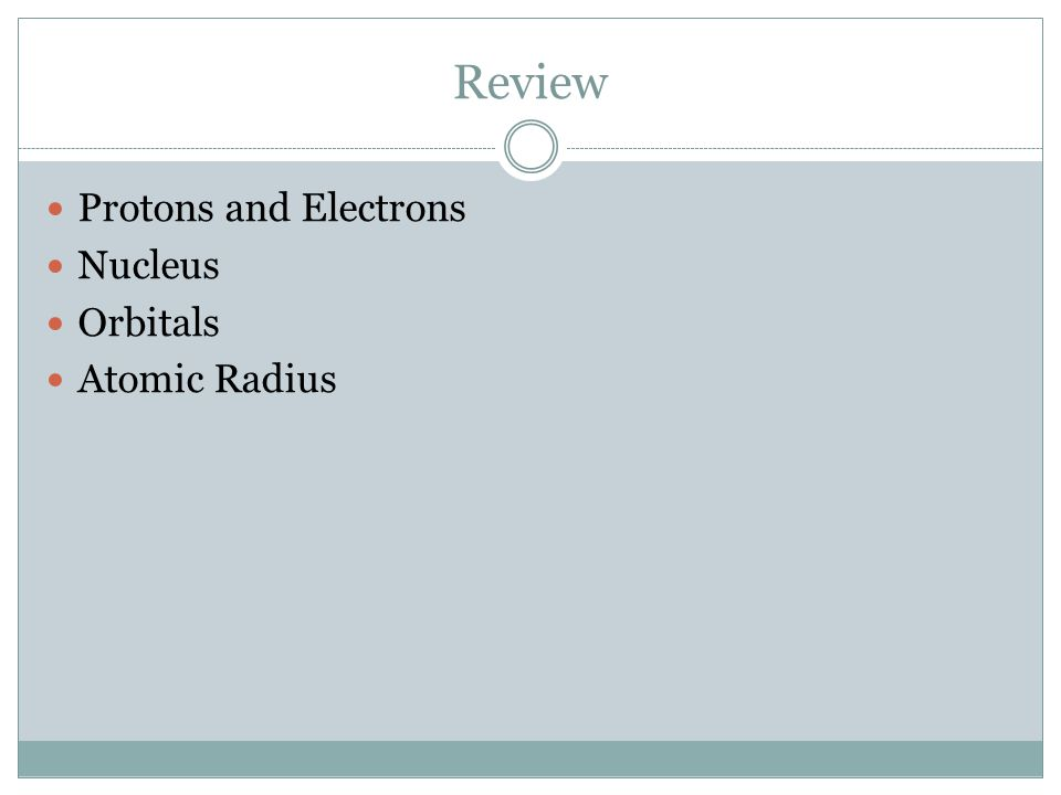 Review Protons and Electrons Nucleus Orbitals Atomic Radius
