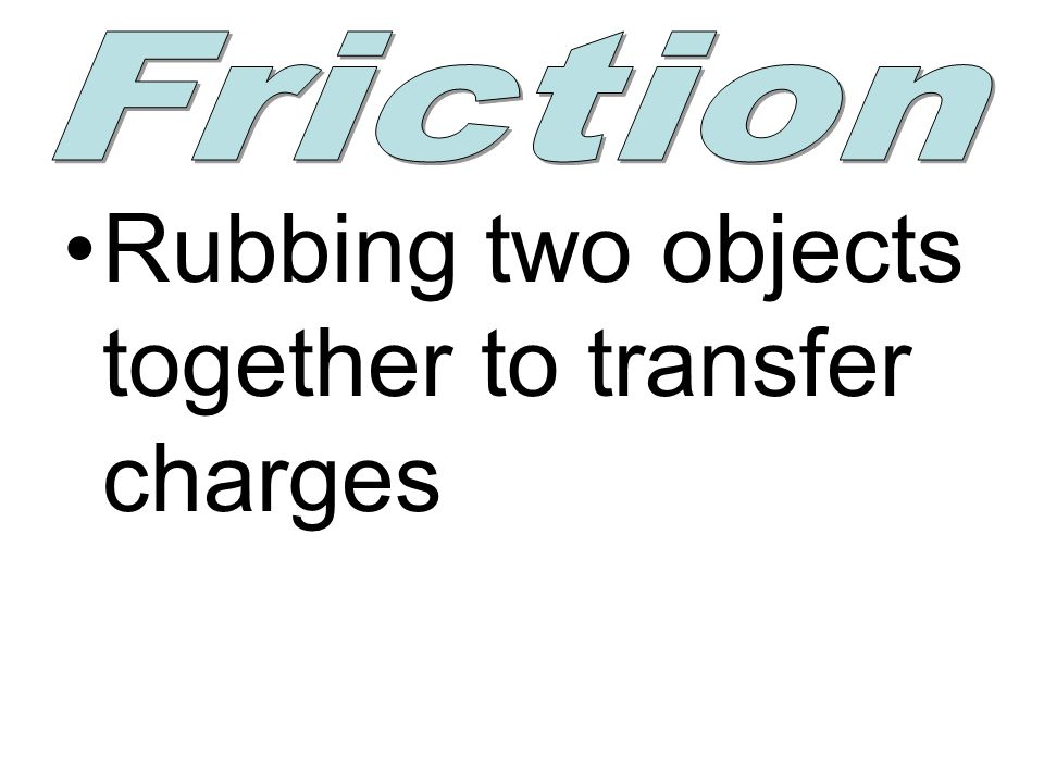 Rubbing two objects together to transfer charges