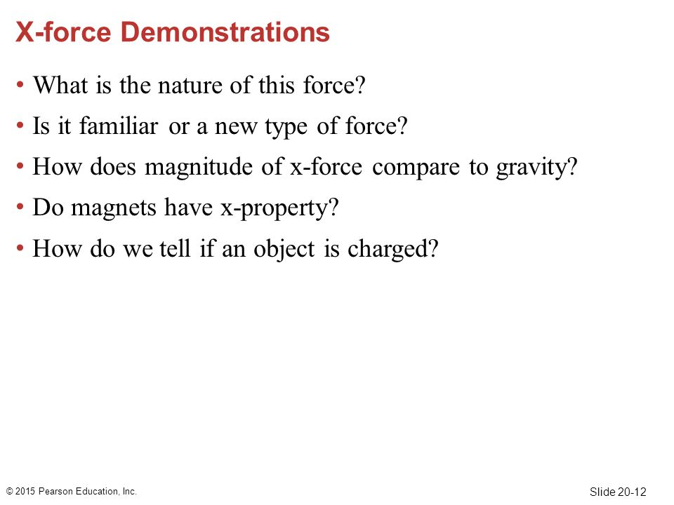Slide 20-12 X-force Demonstrations What is the nature of this force.