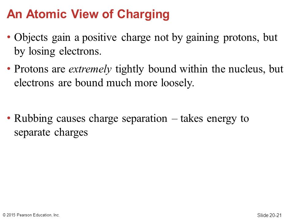 Slide 20-21 An Atomic View of Charging Objects gain a positive charge not by gaining protons, but by losing electrons.