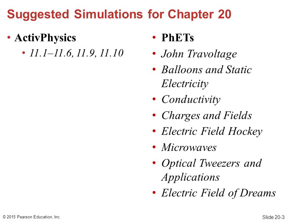 Slide 20-3 Suggested Simulations for Chapter 20 ActivPhysics 11.1–11.6, 11.9, 11.10 PhETs John Travoltage Balloons and Static Electricity Conductivity Charges and Fields Electric Field Hockey Microwaves Optical Tweezers and Applications Electric Field of Dreams © 2015 Pearson Education, Inc.