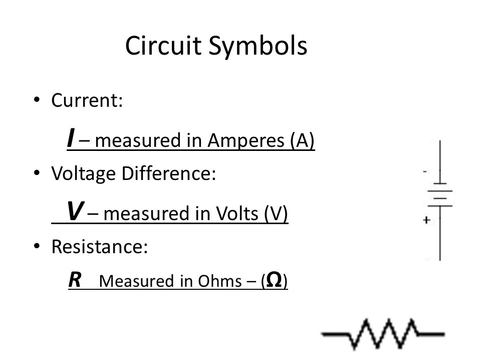 Circuit Symbols Current: I – measured in Amperes (A) Voltage Difference: V – measured in Volts (V) Resistance: R Measured in Ohms – ( Ω )