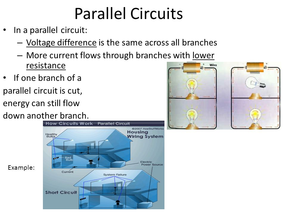Parallel Circuits In a parallel circuit: – Voltage difference is the same across all branches – More current flows through branches with lower resistance If one branch of a parallel circuit is cut, energy can still flow down another branch.