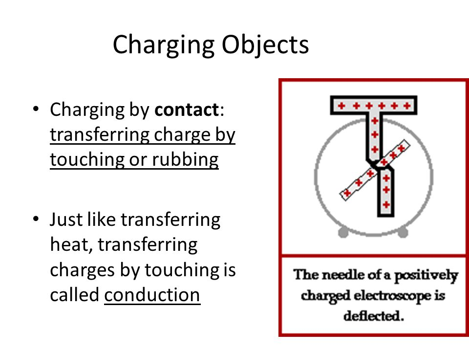 Charging Objects Charging by contact: transferring charge by touching or rubbing Just like transferring heat, transferring charges by touching is called conduction