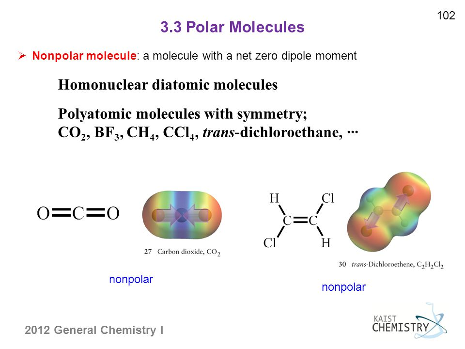 2012 General Chemistry I 3.3 Polar Molecules 102  Nonpolar molecule: a molecule with a net zero dipole moment nonpolar Homonuclear diatomic molecules Polyatomic molecules with symmetry; CO 2, BF 3, CH 4, CCl 4, trans-dichloroethane, ···