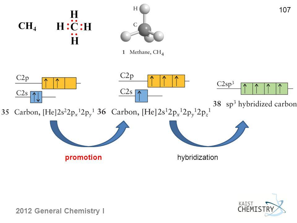2012 General Chemistry I 107 promotionhybridization CH 4
