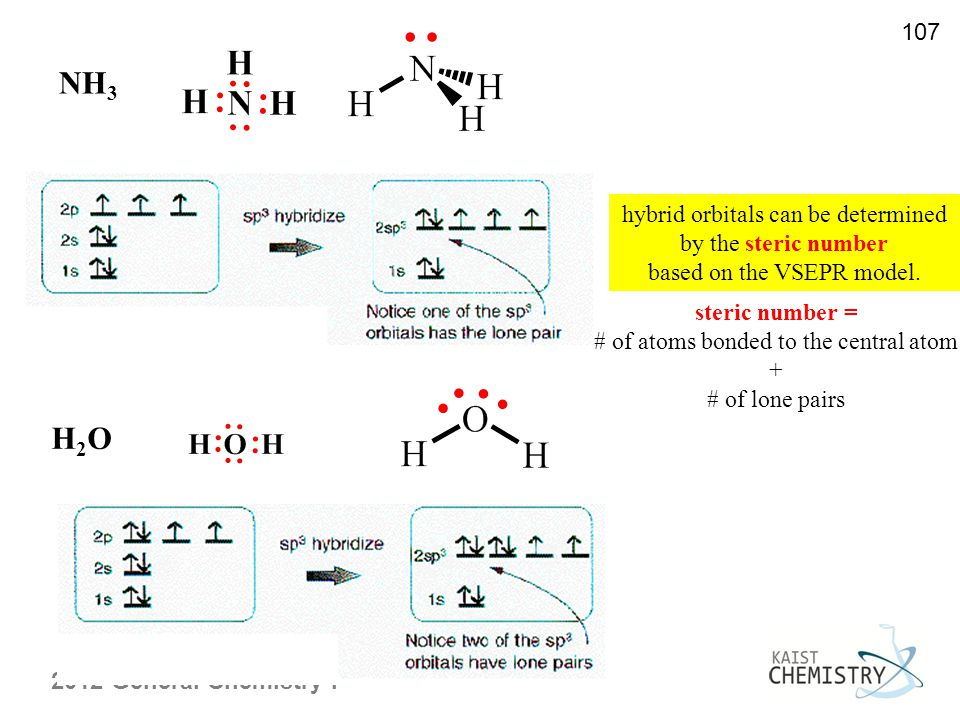2012 General Chemistry I 107 NH 3 H2OH2O hybrid orbitals can be determined by the steric number based on the VSEPR model.