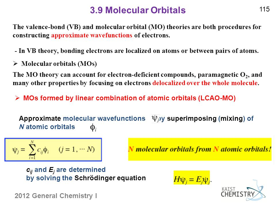 2012 General Chemistry I 3.9 Molecular Orbitals 115  Molecular orbitals (MOs) - In VB theory, bonding electrons are localized on atoms or between pairs of atoms.