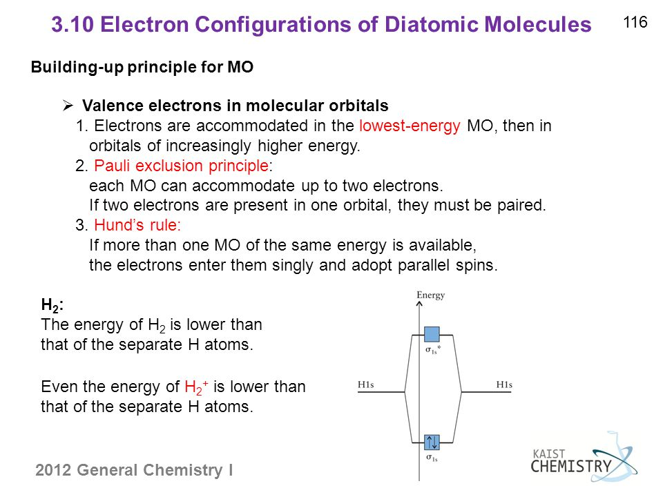 2012 General Chemistry I 3.10 Electron Configurations of Diatomic Molecules 116  Valence electrons in molecular orbitals 1.