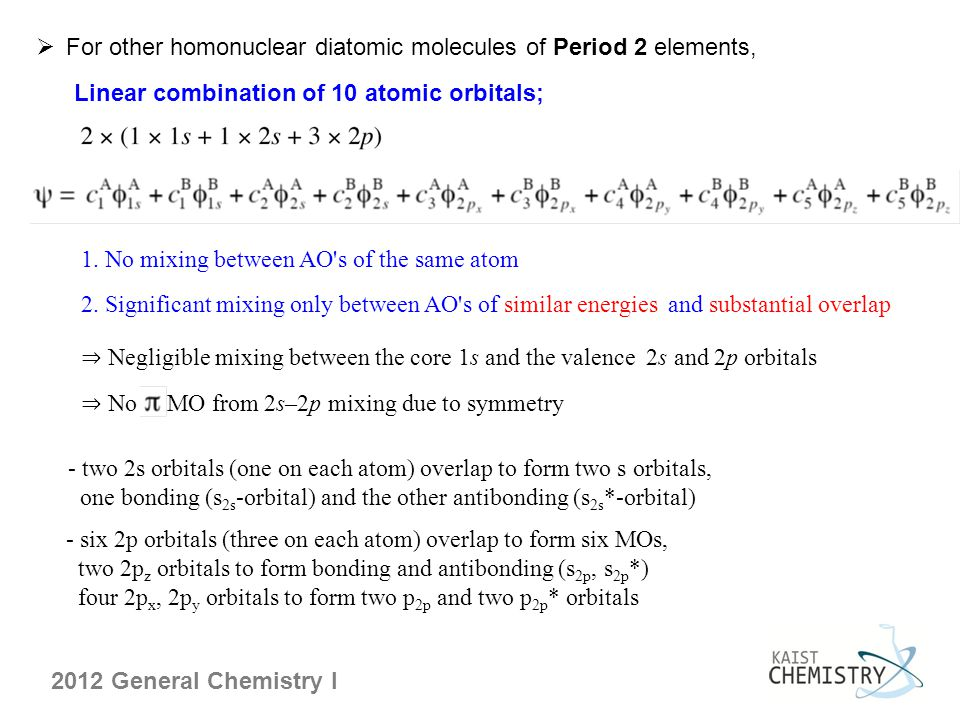 2012 General Chemistry I  For other homonuclear diatomic molecules of Period 2 elements, - two 2s orbitals (one on each atom) overlap to form two s orbitals, one bonding (s 2s -orbital) and the other antibonding (s 2s *-orbital) - six 2p orbitals (three on each atom) overlap to form six MOs, two 2p z orbitals to form bonding and antibonding (s 2p, s 2p *) four 2p x, 2p y orbitals to form two p 2p and two p 2p * orbitals Linear combination of 10 atomic orbitals; 1.