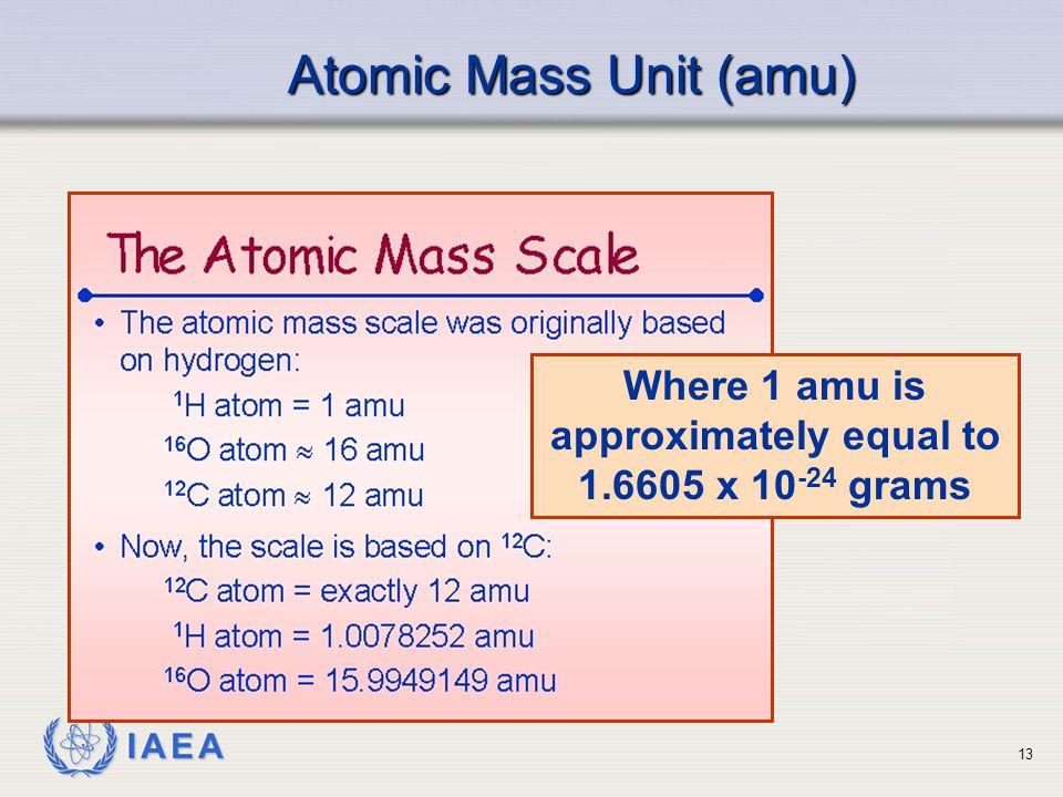 IAEA Atomic Mass Unit (amu) Where 1 amu is approximately equal to 1.6605 x 10 -24 grams 13