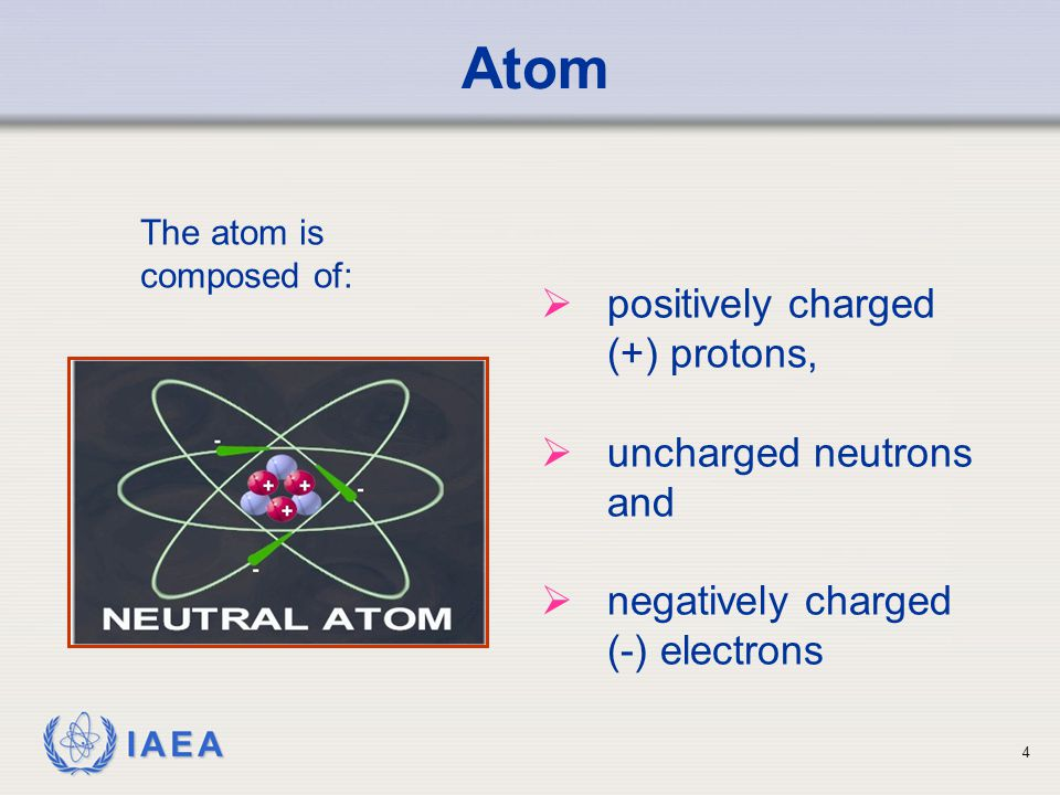 IAEA Atom  positively charged (+) protons,  uncharged neutrons and  negatively charged (-) electrons The atom is composed of: 4