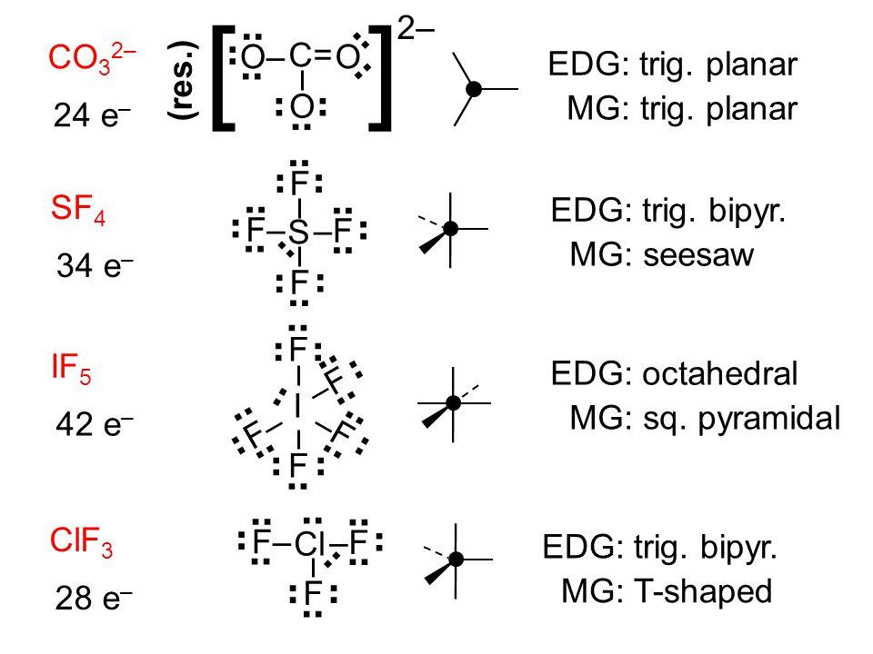 CO 3 2– 24 e – [ ] C= OO–.. O 2– EDG: trig. planar MG: trig. planar SF 4 34 e – EDG: trig. bipyr. MG: seesaw.. S –F F–.. F F IF 5 42 e – I.. F –F.. –F