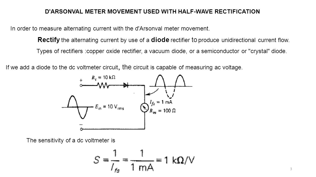 D ARSONVAL METER MOVEMENT USED WITH HALF-WAVE RECTIFICATION In order to measure alternating current with the d Arsonval meter movement.
