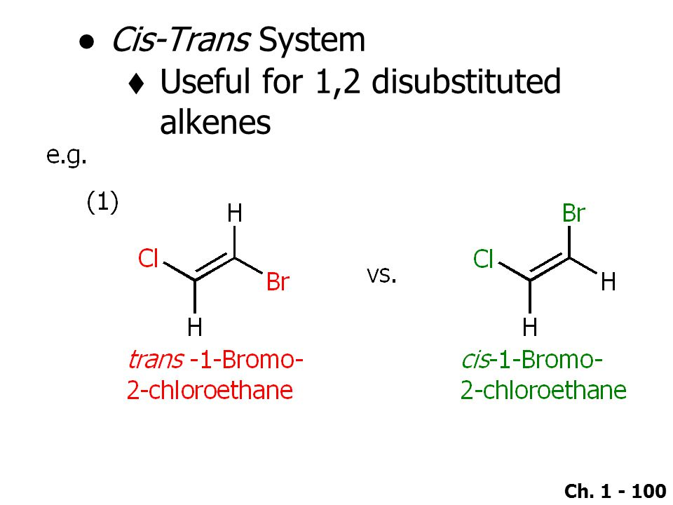 Ch. 1 - 100 ●Cis-Trans System  Useful for 1,2 disubstituted alkenes