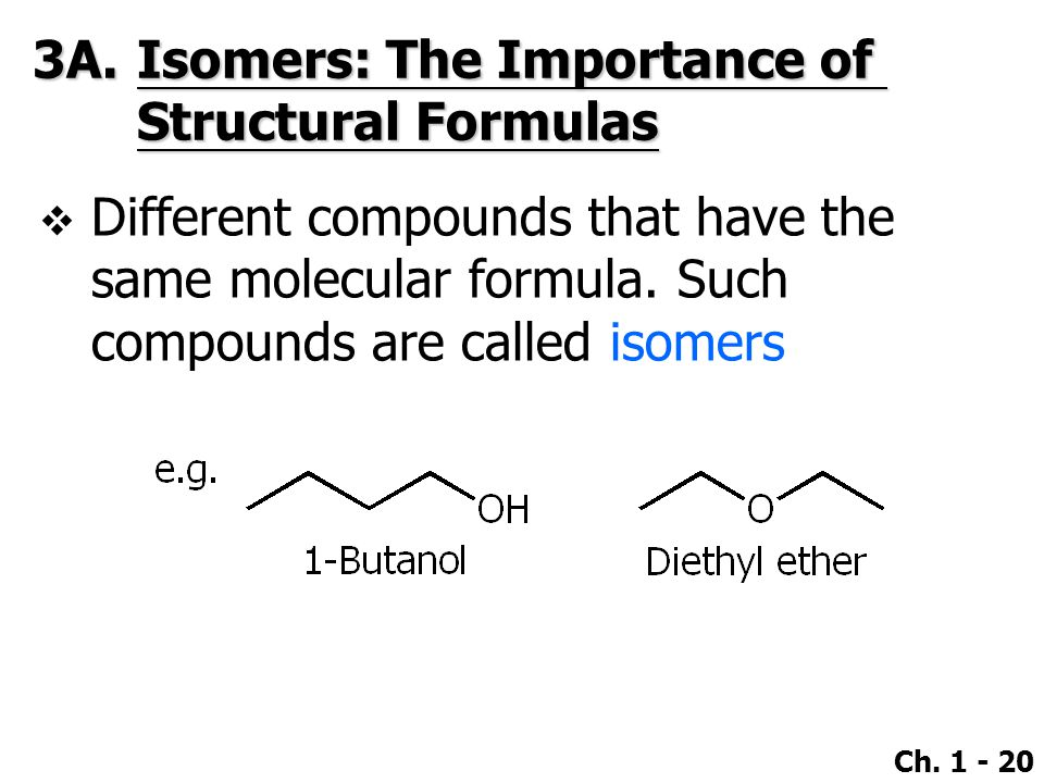Ch. 1 - 20 3A.Isomers: The Importance of Structural Formulas  Different compounds that have the same molecular formula. Such compounds are called iso