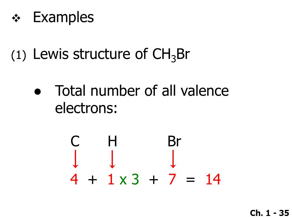 Ch. 1 - 35  Examples (1) Lewis structure of CH 3 Br ●Total number of all valence electrons: 4 + 1 x 3 + 7 = 14 CHBr