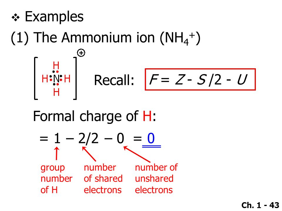 Ch. 1 - 43  Examples (1) The Ammonium ion (NH 4 + ) Recall: Formal charge of H: F = Z - S /2 - U = 1– 2/2 group number of H number of shared electron