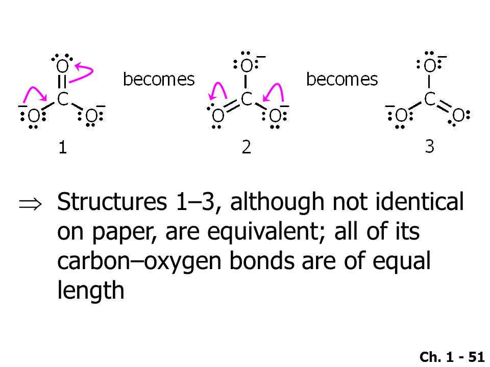 Ch. 1 - 51  Structures 1–3, although not identical on paper, are equivalent; all of its carbon–oxygen bonds are of equal length