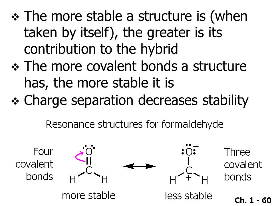 Ch. 1 - 60  The more stable a structure is (when taken by itself), the greater is its contribution to the hybrid  The more covalent bonds a structur
