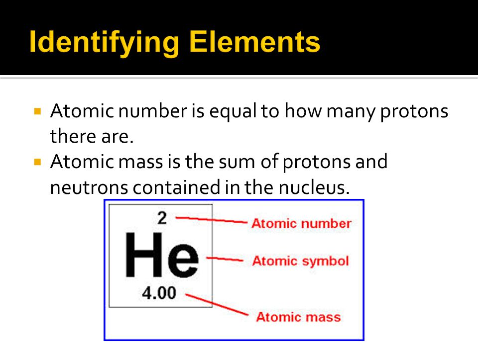  Atomic number is equal to how many protons there are.  Atomic mass is the sum of protons and neutrons contained in the nucleus.