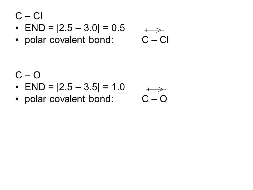C – Cl END = |2.5 – 3.0| = 0.5 polar covalent bond:C – Cl C – O END = |2.5 – 3.5| = 1.0 polar covalent bond:C – O