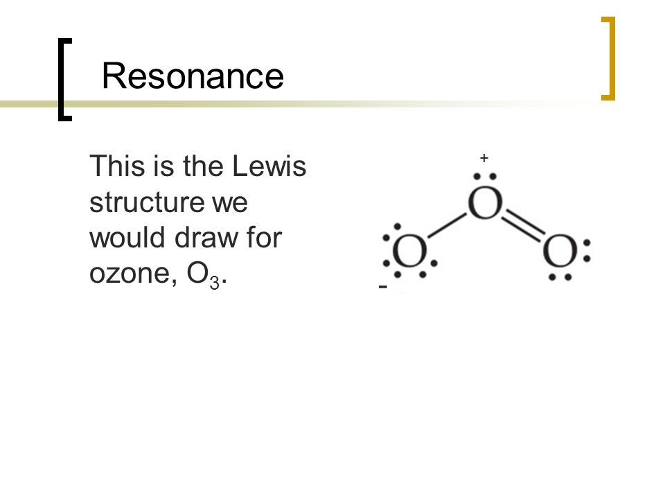 Resonance This is the Lewis structure we would draw for ozone, O 3. - +