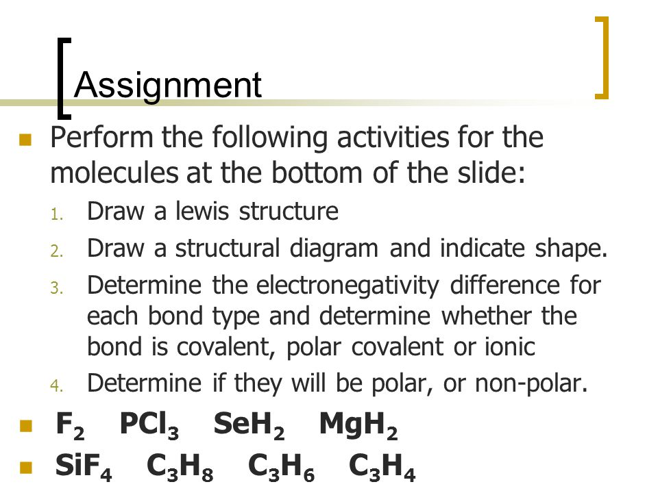Assignment Perform the following activities for the molecules at the bottom of the slide: 1.