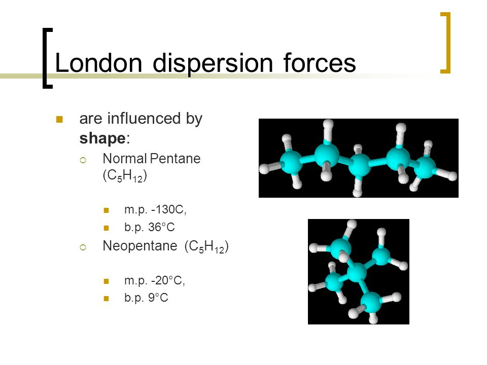 London dispersion forces are influenced by shape:  Normal Pentane (C 5 H 12 ) m.p.