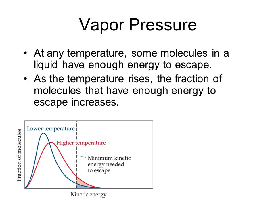 Vapor Pressure At any temperature, some molecules in a liquid have enough energy to escape.