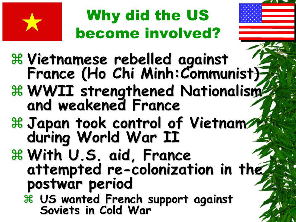 Background to the War: Why did the US become involved? zSoutheast Asia zVietnam, Cambodia, Laos zSlightly larger than Texas z27 million people zFrance