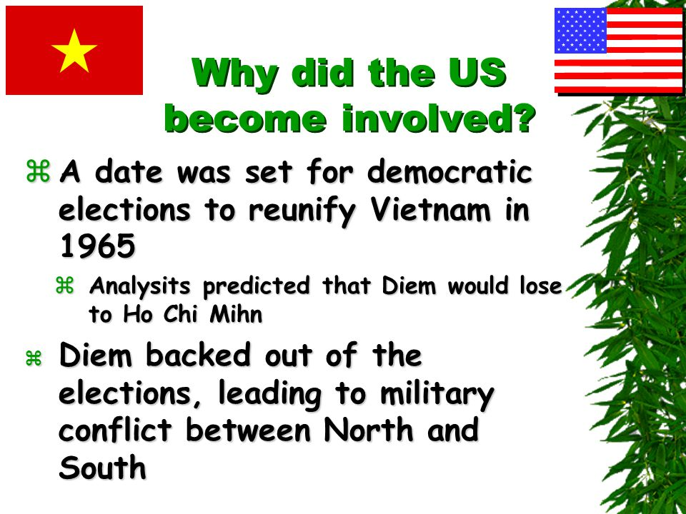 Why did the US become involved? zInternational Conference at Geneva granted to Vietnam P Vietnam was divided at 17 th parallel O Ho Chi Minh's nationa
