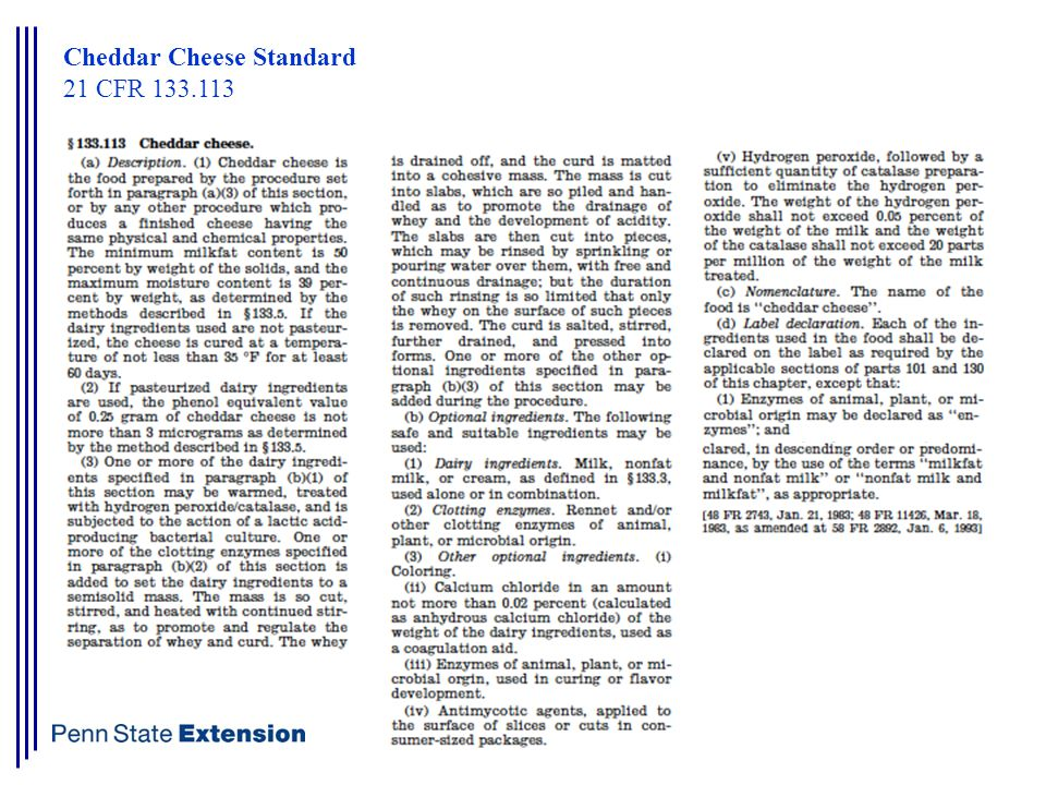 Cheddar Cheese Standard 21 CFR 133.113