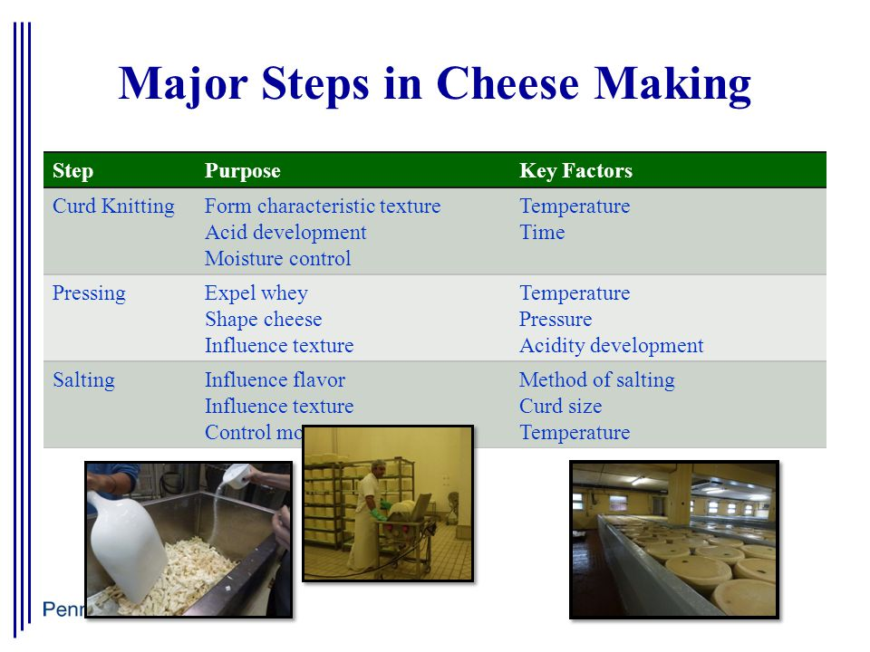 Major Steps in Cheese Making StepPurposeKey Factors Curd KnittingForm characteristic texture Acid development Moisture control Temperature Time PressingExpel whey Shape cheese Influence texture Temperature Pressure Acidity development SaltingInfluence flavor Influence texture Control moisture Method of salting Curd size Temperature