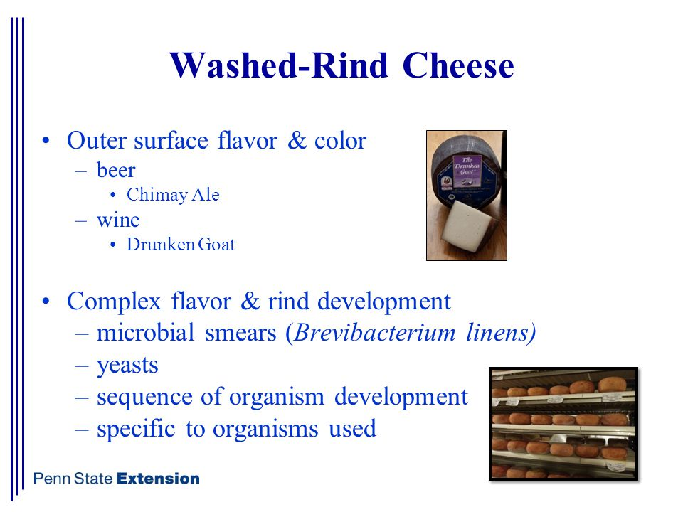 Washed-Rind Cheese Outer surface flavor & color –beer Chimay Ale –wine Drunken Goat Complex flavor & rind development –microbial smears (Brevibacterium linens) –yeasts –sequence of organism development –specific to organisms used