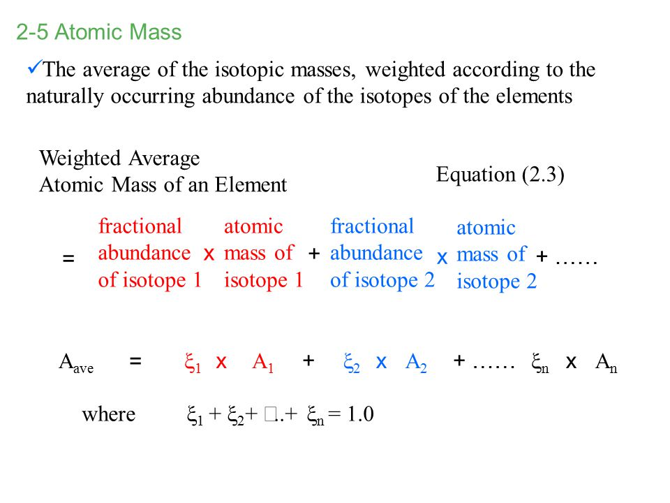 2-5 Atomic Mass Weighted Average Atomic Mass of an Element fractional abundance of isotope 1 atomic mass of isotope 1 fractional abundance of isotope